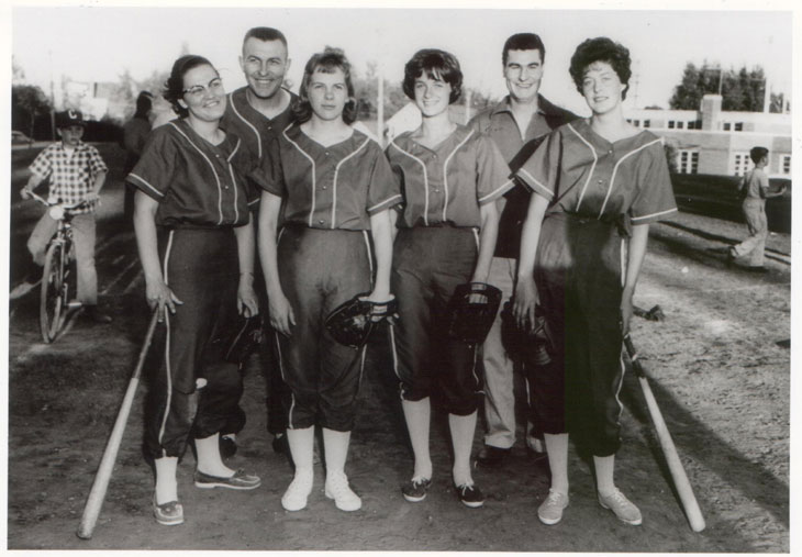 """Holly Terrors"" Ball Team. Left; Unidentified Student, Coach, Andresen, Tanner, Coach, White"