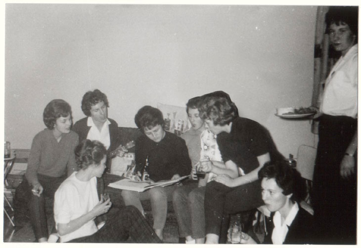 1961 Party at Blackwells. Left; Yates, Armbruster, Wolkoff, Hawkins, Andresen, Niven, Porter and Priestnall
